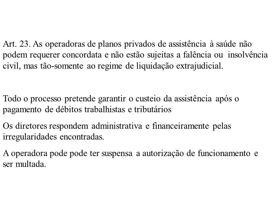 Art. 23. As operadoras de planos privados de assistência à saúde não podem requerer concordata e não estão sujeitas a falência ou insolvência civil, m