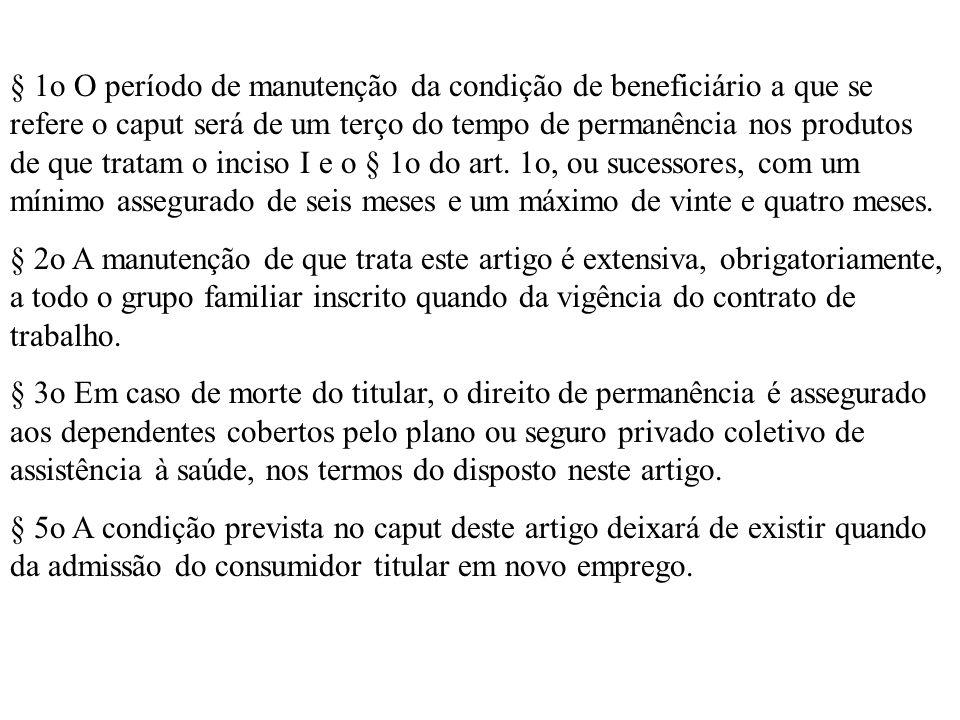 § 1o O período de manutenção da condição de beneficiário a que se refere o caput será de um terço do tempo de permanência nos produtos de que tratam o