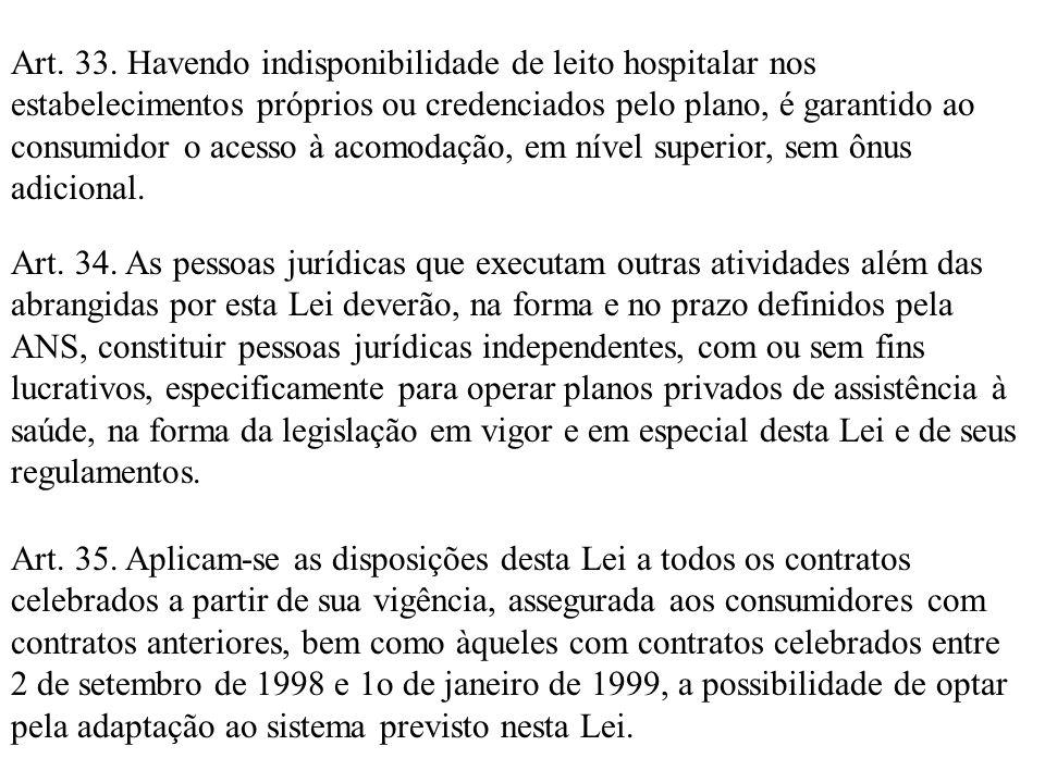 Art. 33. Havendo indisponibilidade de leito hospitalar nos estabelecimentos próprios ou credenciados pelo plano, é garantido ao consumidor o acesso à