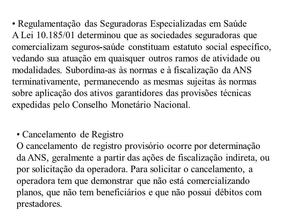 Regulamentação das Seguradoras Especializadas em Saúde A Lei 10.185/01 determinou que as sociedades seguradoras que comercializam seguros-saúde consti