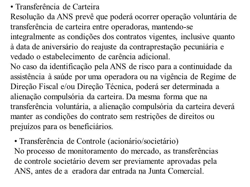 Transferência de Carteira Resolução da ANS prevê que poderá ocorrer operação voluntária de transferência de carteira entre operadoras, mantendo-se int