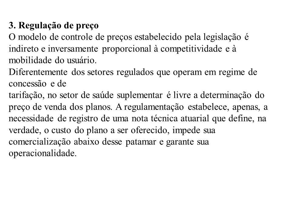 3. Regulação de preço O modelo de controle de preços estabelecido pela legislação é indireto e inversamente proporcional à competitividade e à mobilid