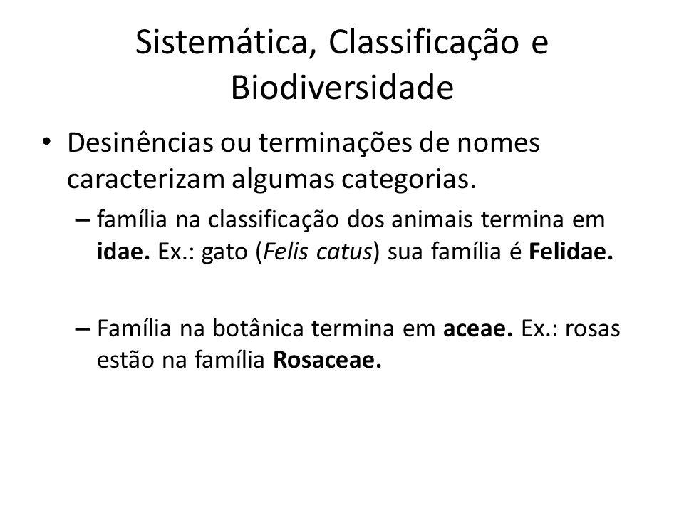 Desinências ou terminações de nomes caracterizam algumas categorias. – família na classificação dos animais termina em idae. Ex.: gato (Felis catus) s