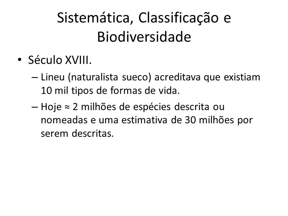 Século XVIII. – Lineu (naturalista sueco) acreditava que existiam 10 mil tipos de formas de vida. – Hoje 2 milhões de espécies descrita ou nomeadas e
