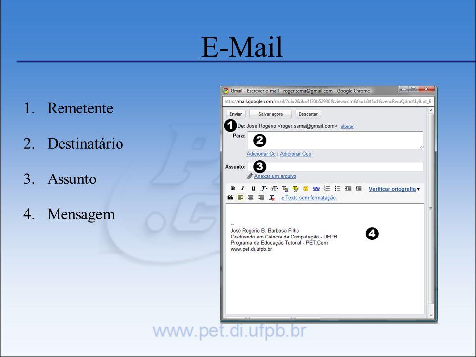 E-Mail 1.Remetente 2.Destinatário 3.Assunto 4.Mensagem