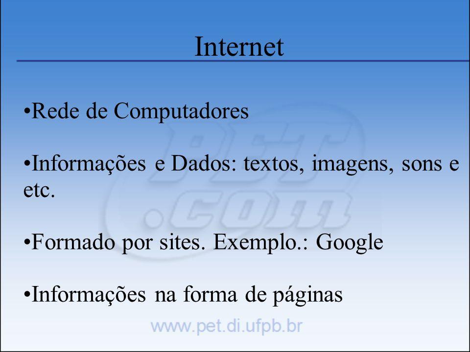 Internet Rede de Computadores Informações e Dados: textos, imagens, sons e etc. Formado por sites. Exemplo.: Google Informações na forma de páginas