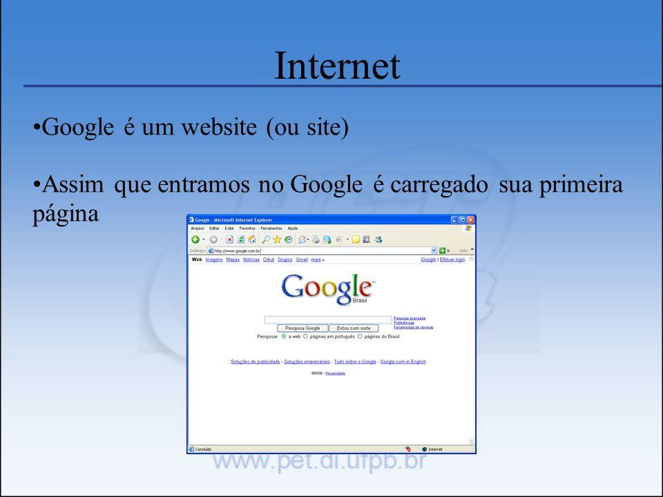 Internet Google é um website (ou site) Assim que entramos no Google é carregado sua primeira página