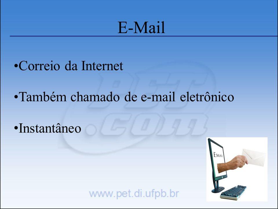 E-Mail Correio da Internet Também chamado de e-mail eletrônico Instantâneo