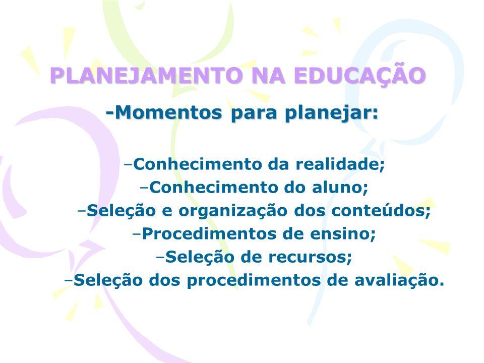 PLANEJAMENTO NA EDUCAÇÃO -Momentos para planejar: –Conhecimento da realidade; –Conhecimento do aluno; –Seleção e organização dos conteúdos; –Procedimentos de ensino; –Seleção de recursos; –Seleção dos procedimentos de avaliação.