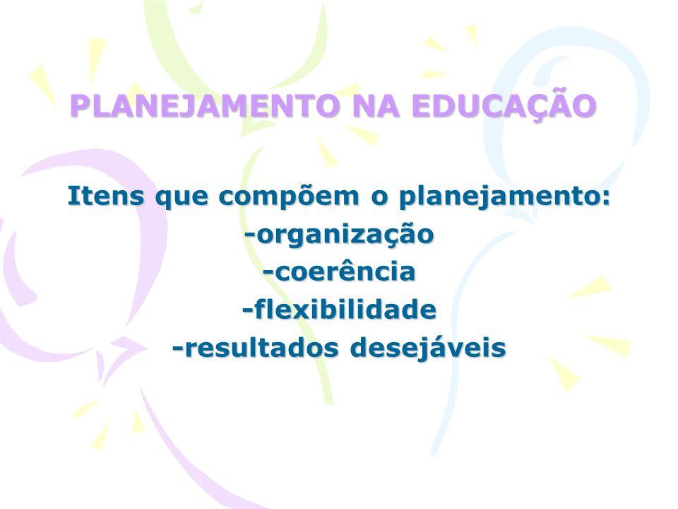 PLANEJAMENTO NA EDUCAÇÃO Itens que compõem o planejamento: -organização-coerência-flexibilidade -resultados desejáveis
