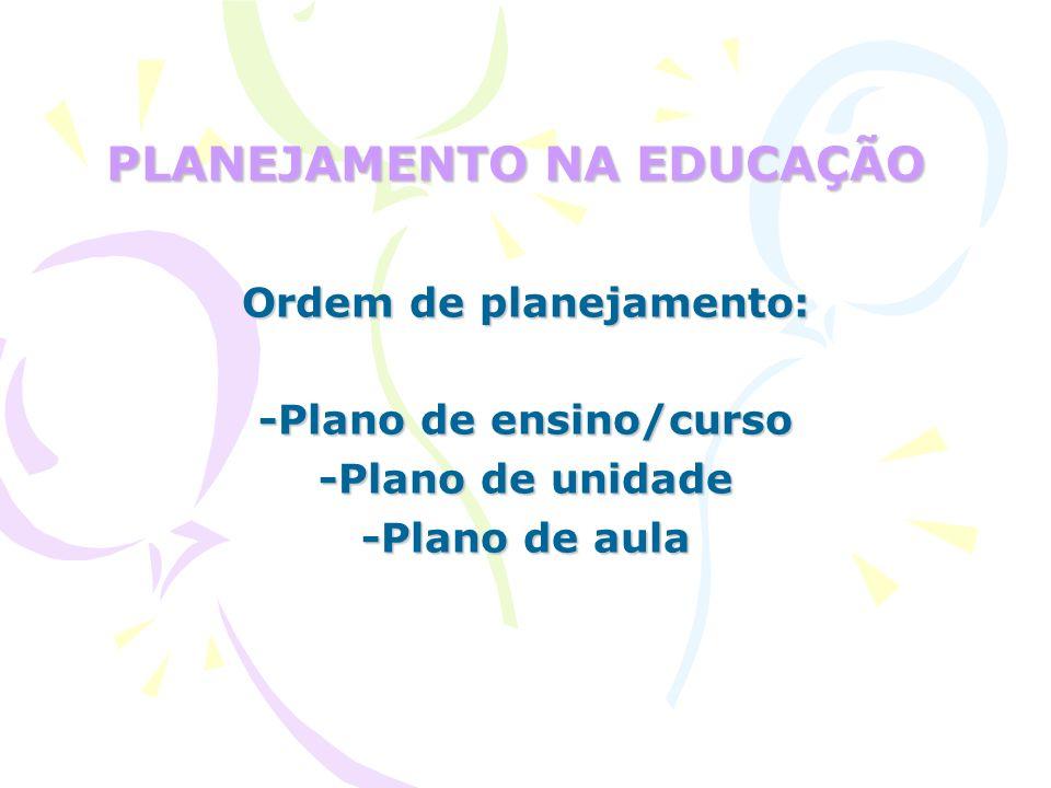 PLANEJAMENTO NA EDUCAÇÃO Ordem de planejamento: -Plano de ensino/curso -Plano de unidade -Plano de aula