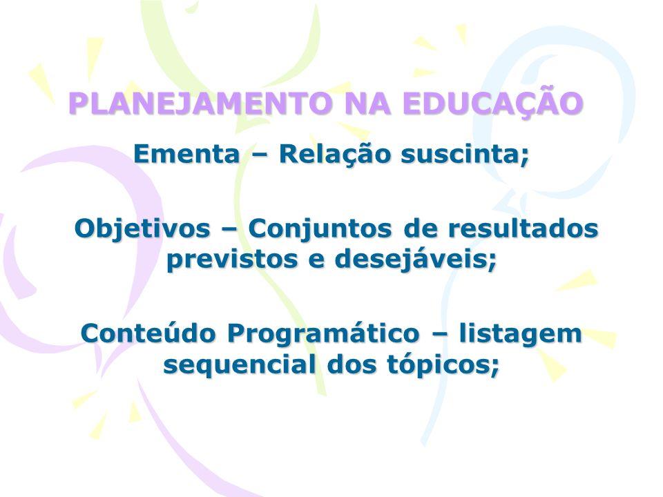 PLANEJAMENTO NA EDUCAÇÃO Metodologia – conjuntos de procedimentos didáticos; Método – organização racional e prática dos recursos e procedimentos.