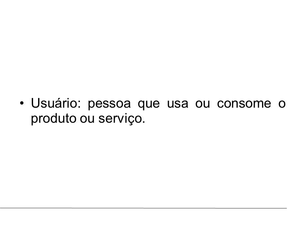 Prof.: Marcus ViníciusAULA : Usuário: pessoa que usa ou consome o produto ou serviço.