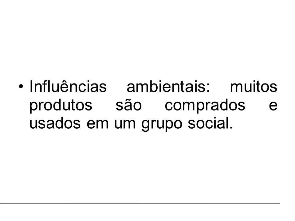Prof.: Marcus ViníciusAULA : Influências ambientais: muitos produtos são comprados e usados em um grupo social.