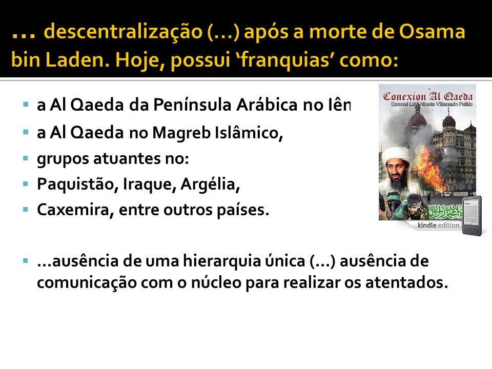 a Al Qaeda da Península Arábica no Iêmen, a Al Qaeda no Magreb Islâmico, grupos atuantes no: Paquistão, Iraque, Argélia, Caxemira, entre outros países