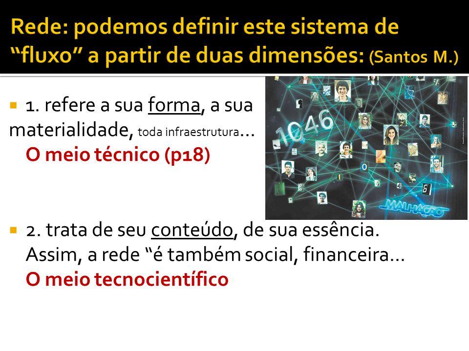 1. refere a sua forma, a sua materialidade, toda infraestrutura... O meio técnico (p18) 2. trata de seu conteúdo, de sua essência. Assim, a rede é tam