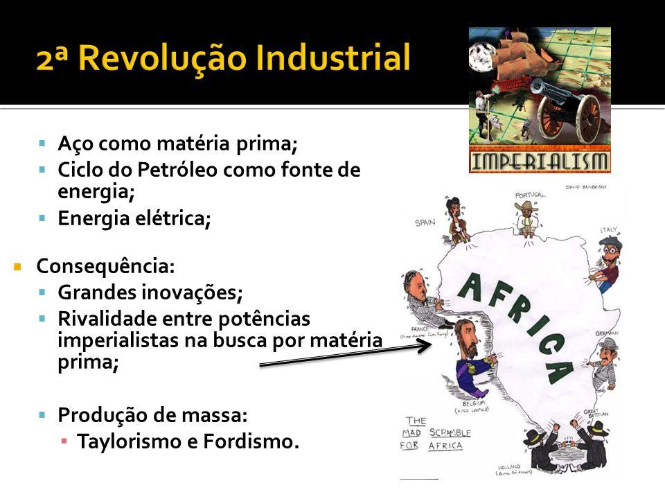 Aço como matéria prima; Ciclo do Petróleo como fonte de energia; Energia elétrica; Consequência: Grandes inovações; Rivalidade entre potências imperia