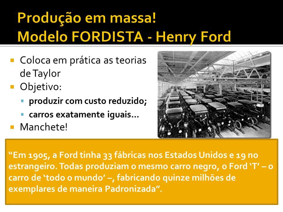 Coloca em prática as teorias de Taylor Objetivo: produzir com custo reduzido; carros exatamente iguais... Manchete! Em 1905, a Ford tinha 33 fábricas