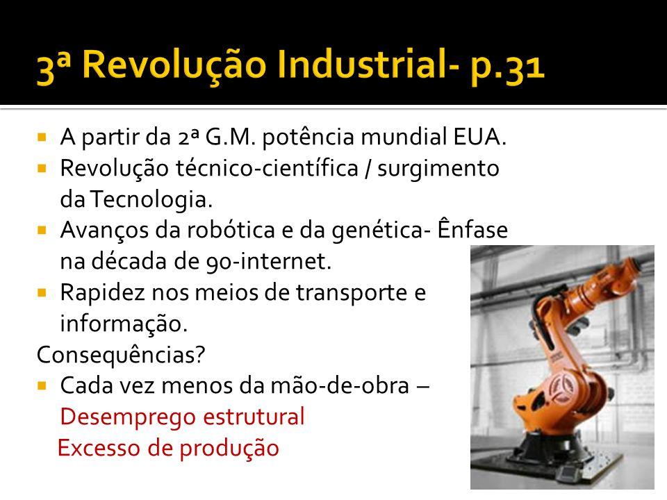 A partir da 2ª G.M. potência mundial EUA. Revolução técnico-científica / surgimento da Tecnologia. Avanços da robótica e da genética- Ênfase na década