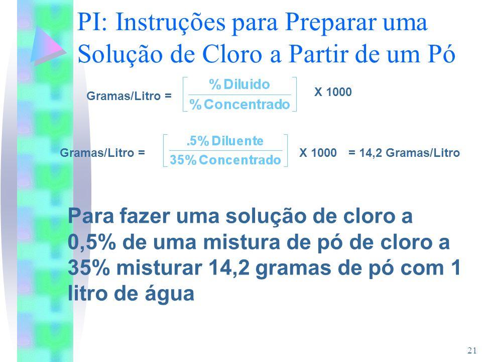21 PI: Instruções para Preparar uma Solução de Cloro a Partir de um Pó Para fazer uma solução de cloro a 0,5% de uma mistura de pó de cloro a 35% mist