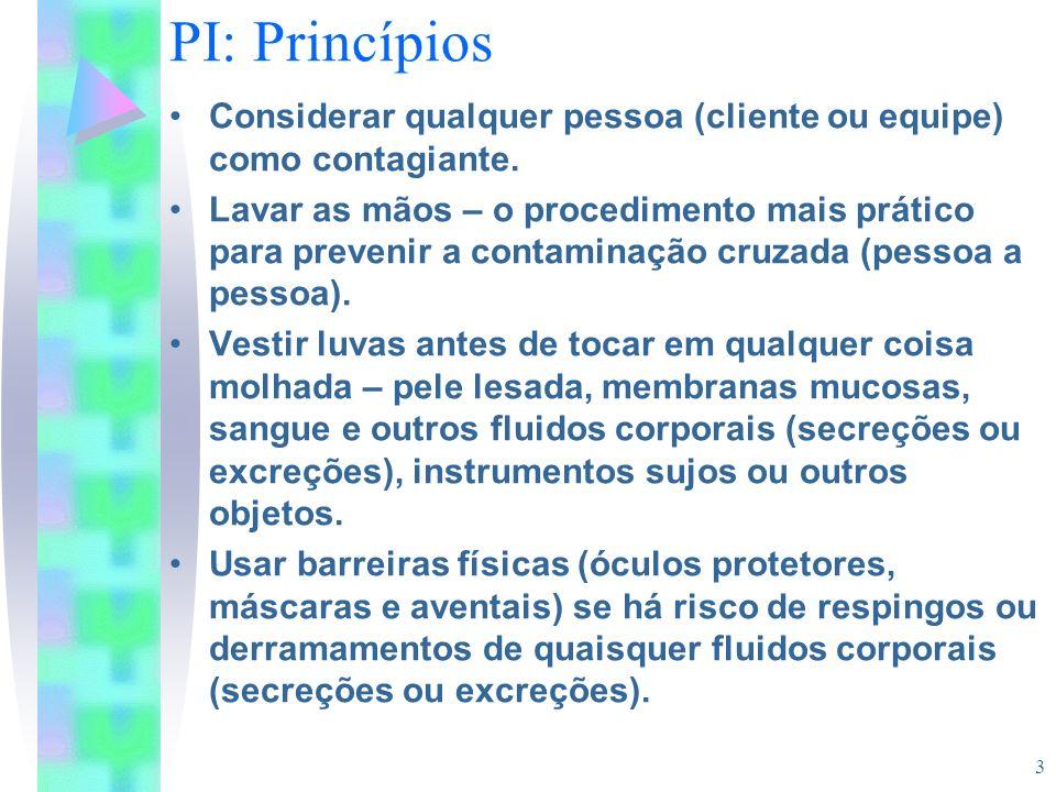 3 PI: Princípios Considerar qualquer pessoa (cliente ou equipe) como contagiante. Lavar as mãos – o procedimento mais prático para prevenir a contamin
