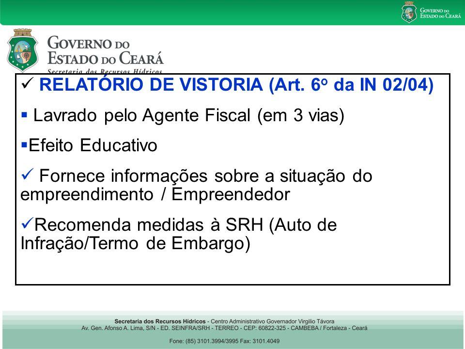 RELATÓRIO DE VISTORIA (Art.