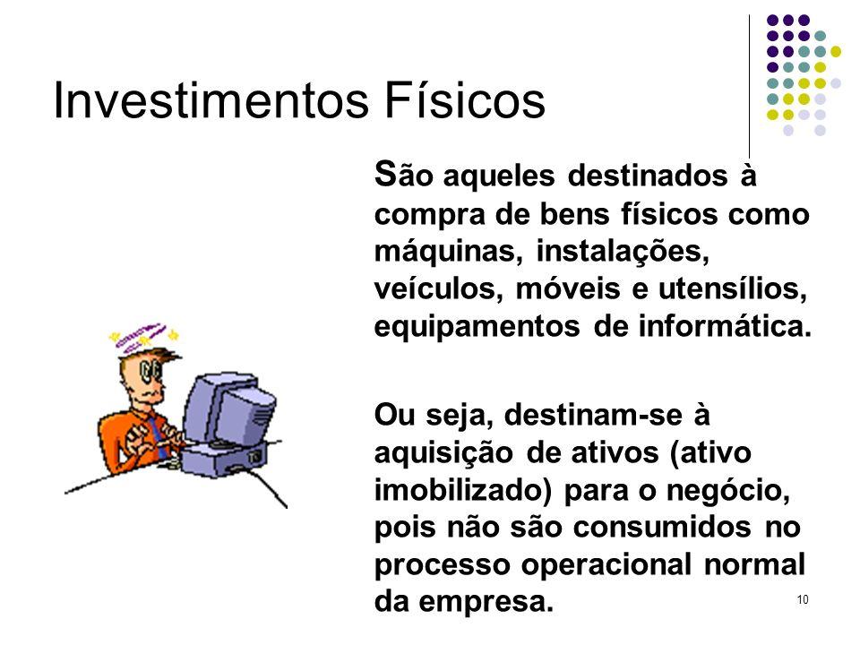 10 Investimentos Físicos S ão aqueles destinados à compra de bens físicos como máquinas, instalações, veículos, móveis e utensílios, equipamentos de i