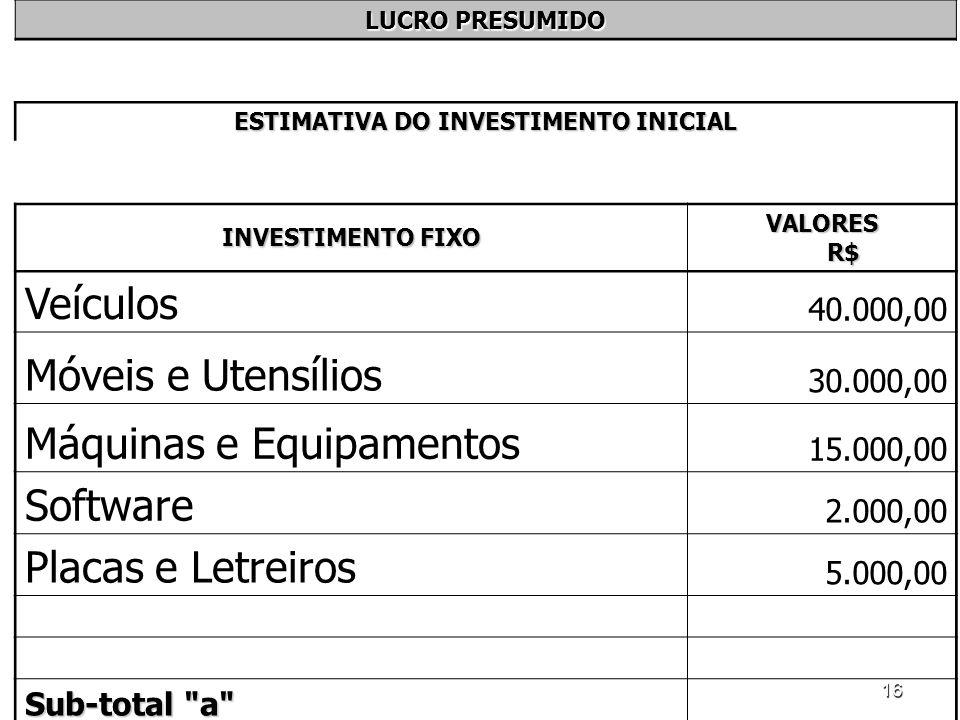 16 LUCRO PRESUMIDO ESTIMATIVA DO INVESTIMENTO INICIAL INVESTIMENTO FIXO VALORES R$ Veículos 40.000,00 Móveis e Utensílios 30.000,00 Máquinas e Equipam