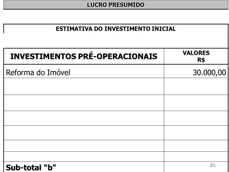 20 LUCRO PRESUMIDO ESTIMATIVA DO INVESTIMENTO INICIAL INVESTIMENTOS PRÉ-OPERACIONAIS VALORES R$ Reforma do Imóvel30.000,00 Sub-total b