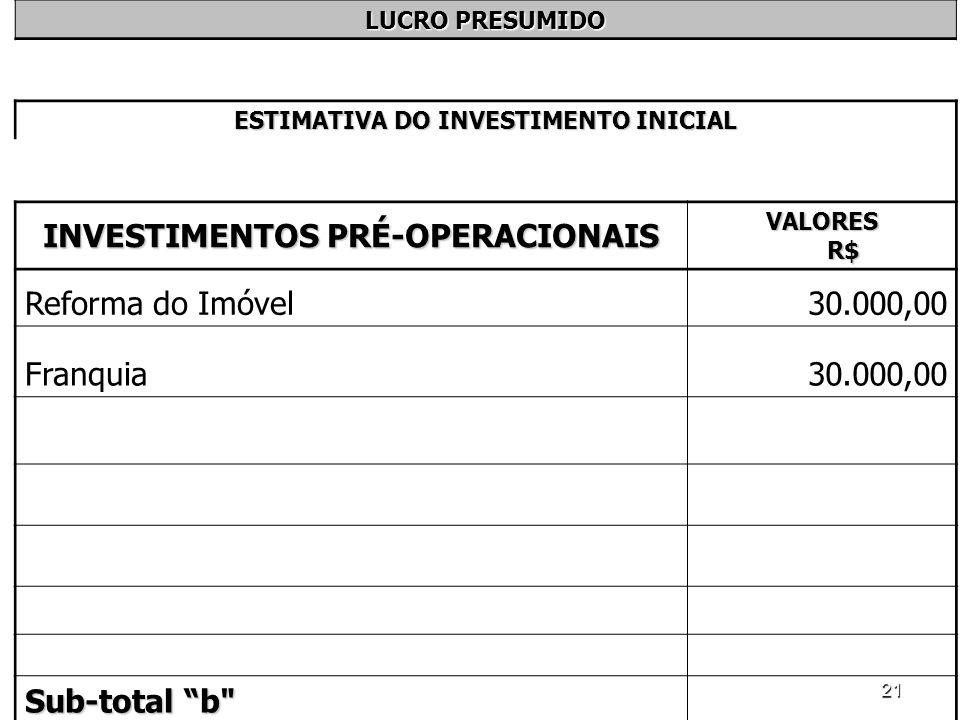 21 LUCRO PRESUMIDO ESTIMATIVA DO INVESTIMENTO INICIAL INVESTIMENTOS PRÉ-OPERACIONAIS VALORES R$ Reforma do Imóvel30.000,00 Franquia30.000,00 Sub-total