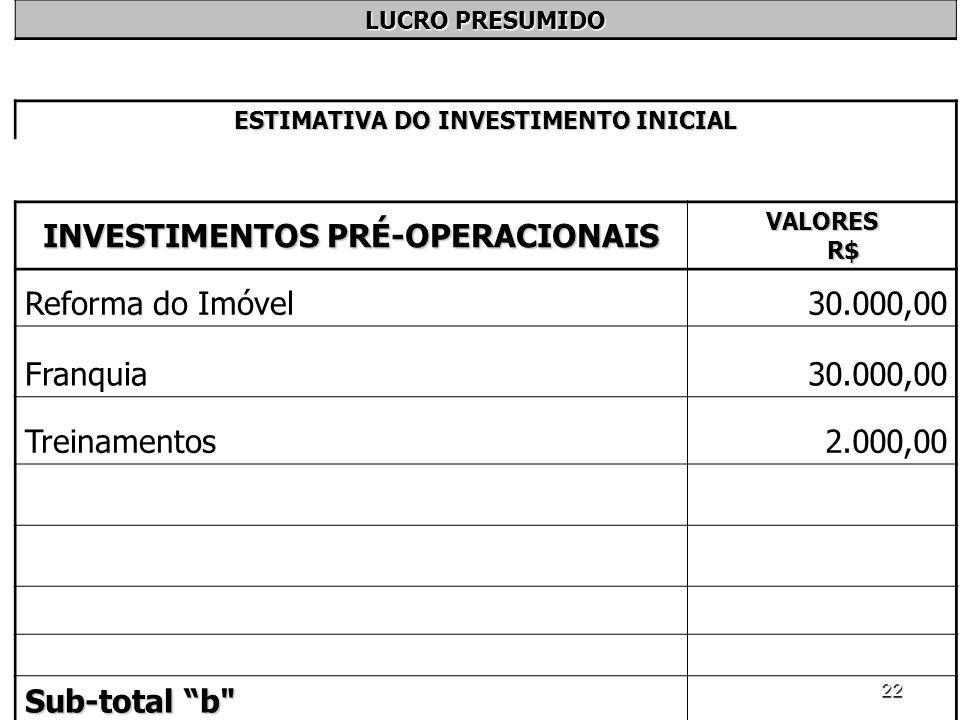 22 LUCRO PRESUMIDO ESTIMATIVA DO INVESTIMENTO INICIAL INVESTIMENTOS PRÉ-OPERACIONAIS VALORES R$ Reforma do Imóvel30.000,00 Franquia30.000,00 Treinamen