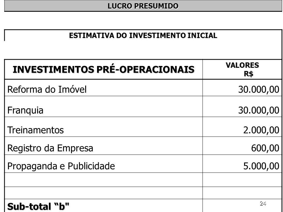 24 LUCRO PRESUMIDO ESTIMATIVA DO INVESTIMENTO INICIAL INVESTIMENTOS PRÉ-OPERACIONAIS VALORES R$ Reforma do Imóvel30.000,00 Franquia30.000,00 Treinamen