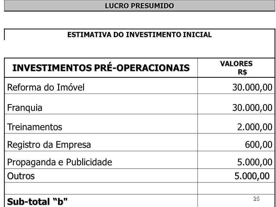 25 LUCRO PRESUMIDO ESTIMATIVA DO INVESTIMENTO INICIAL INVESTIMENTOS PRÉ-OPERACIONAIS VALORES R$ Reforma do Imóvel30.000,00 Franquia30.000,00 Treinamen
