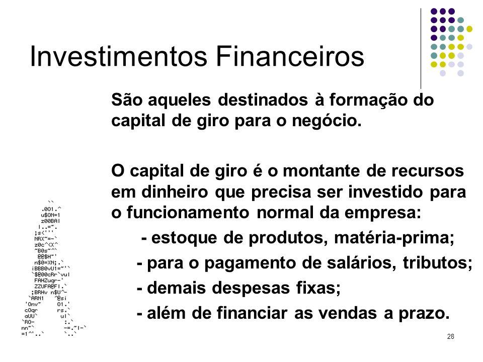 28 Investimentos Financeiros São aqueles destinados à formação do capital de giro para o negócio. O capital de giro é o montante de recursos em dinhei