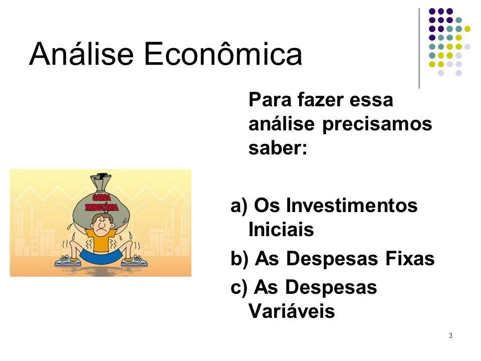 3 Análise Econômica Para fazer essa análise precisamos saber: a) Os Investimentos Iniciais b) As Despesas Fixas c) As Despesas Variáveis