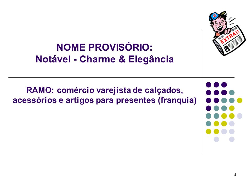 4 NOME PROVISÓRIO: Notável - Charme & Elegância RAMO: comércio varejista de calçados, acessórios e artigos para presentes (franquia)