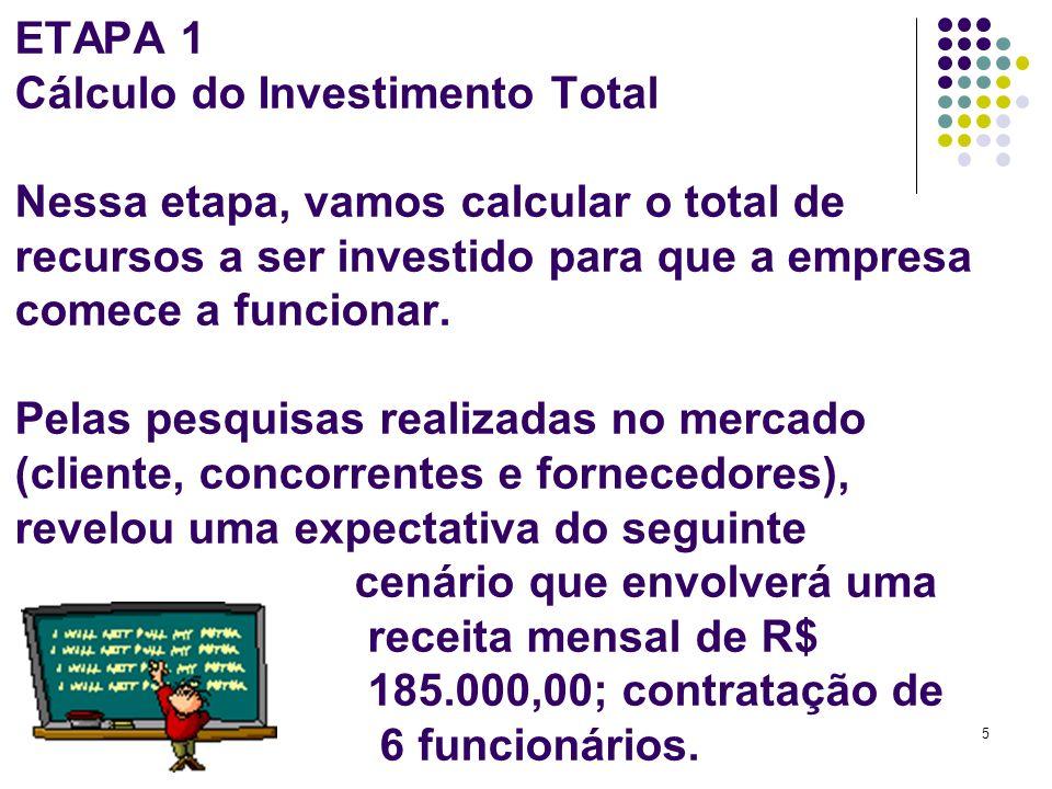 5 ETAPA 1 Cálculo do Investimento Total Nessa etapa, vamos calcular o total de recursos a ser investido para que a empresa comece a funcionar. Pelas p