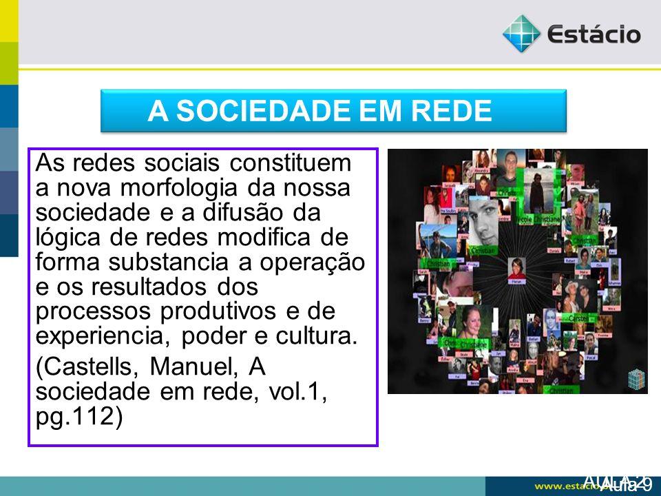 AULA 2 As redes sociais constituem a nova morfologia da nossa sociedade e a difusão da lógica de redes modifica de forma substancia a operação e os re