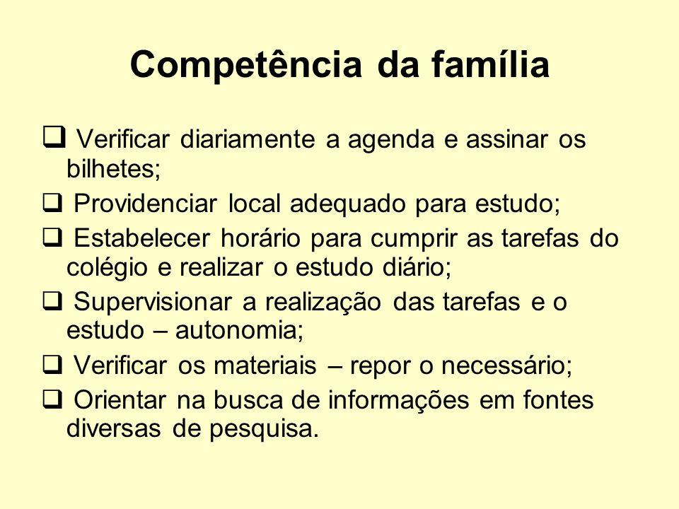 Competência da família Verificar diariamente a agenda e assinar os bilhetes; Providenciar local adequado para estudo; Estabelecer horário para cumprir