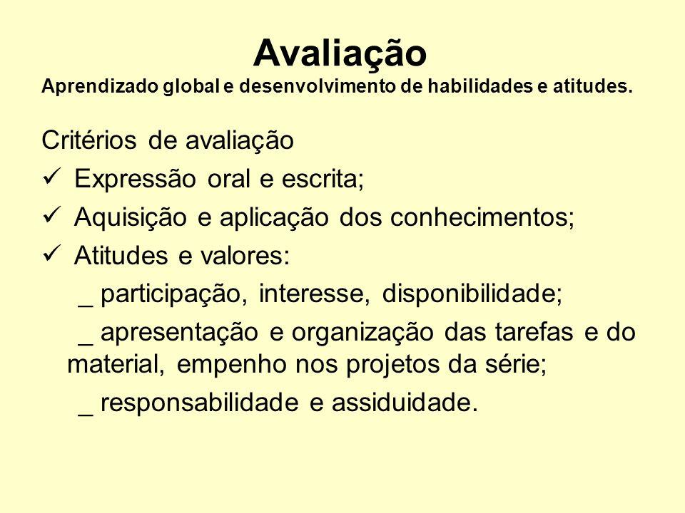 Avaliação Aprendizado global e desenvolvimento de habilidades e atitudes. Critérios de avaliação Expressão oral e escrita; Aquisição e aplicação dos c