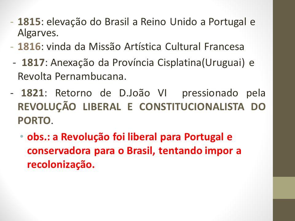 -1815: elevação do Brasil a Reino Unido a Portugal e Algarves. -1816: vinda da Missão Artística Cultural Francesa - 1817: Anexação da Província Cispla