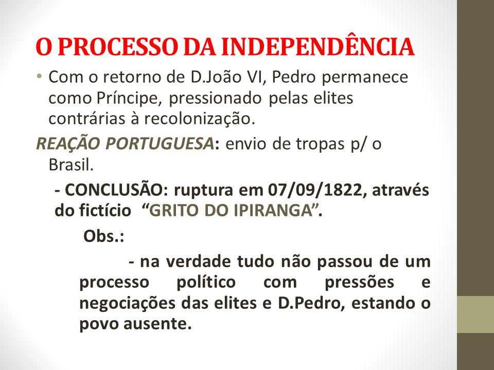 O PROCESSO DA INDEPENDÊNCIA Com o retorno de D.João VI, Pedro permanece como Príncipe, pressionado pelas elites contrárias à recolonização. REAÇÃO POR