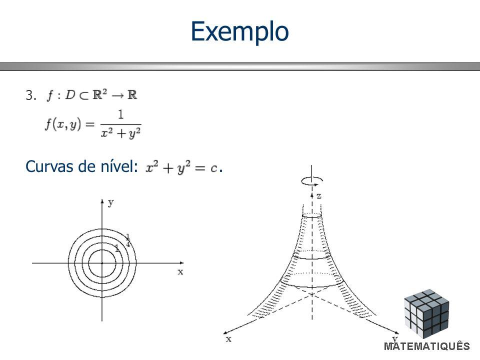 Curvas de nível:. 3. Exemplo