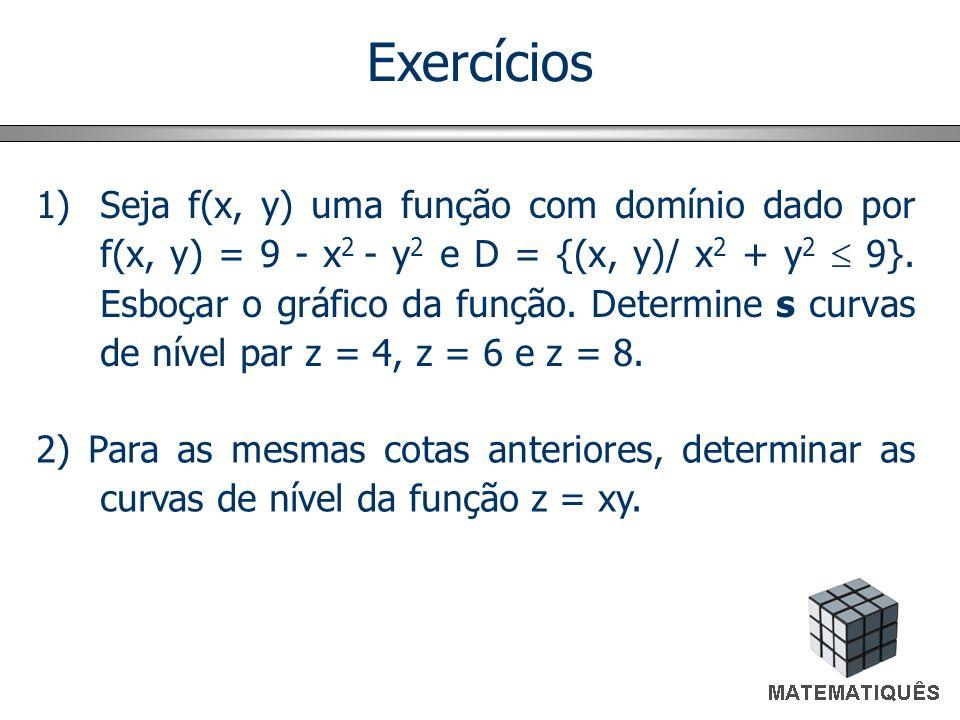 Exercícios 1)Seja f(x, y) uma função com domínio dado por f(x, y) = 9 - x 2 - y 2 e D = {(x, y)/ x 2 + y 2 9}. Esboçar o gráfico da função. Determine