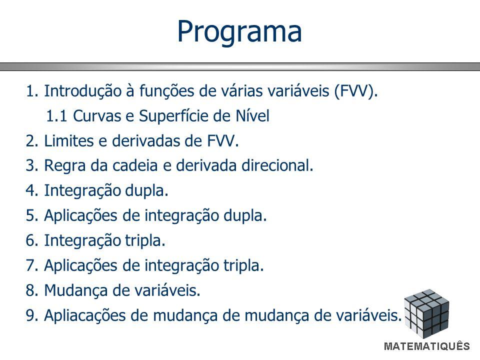 Programa 1. Introdução à funções de várias variáveis (FVV). 1.1 Curvas e Superfície de Nível 2. Limites e derivadas de FVV. 3. Regra da cadeia e deriv