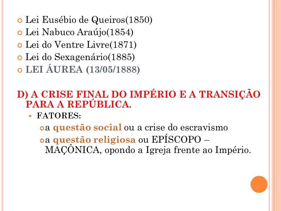 Lei Eusébio de Queiros(1850) Lei Nabuco Araújo(1854) Lei do Ventre Livre(1871) Lei do Sexagenário(1885) LEI ÁUREA (13/05/1888) D) A CRISE FINAL DO IMP