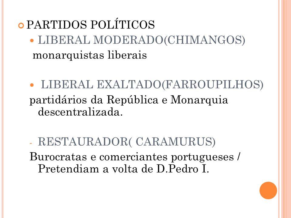 PARTIDOS POLÍTICOS LIBERAL MODERADO(CHIMANGOS) monarquistas liberais LIBERAL EXALTADO(FARROUPILHOS) partidários da República e Monarquia descentraliza