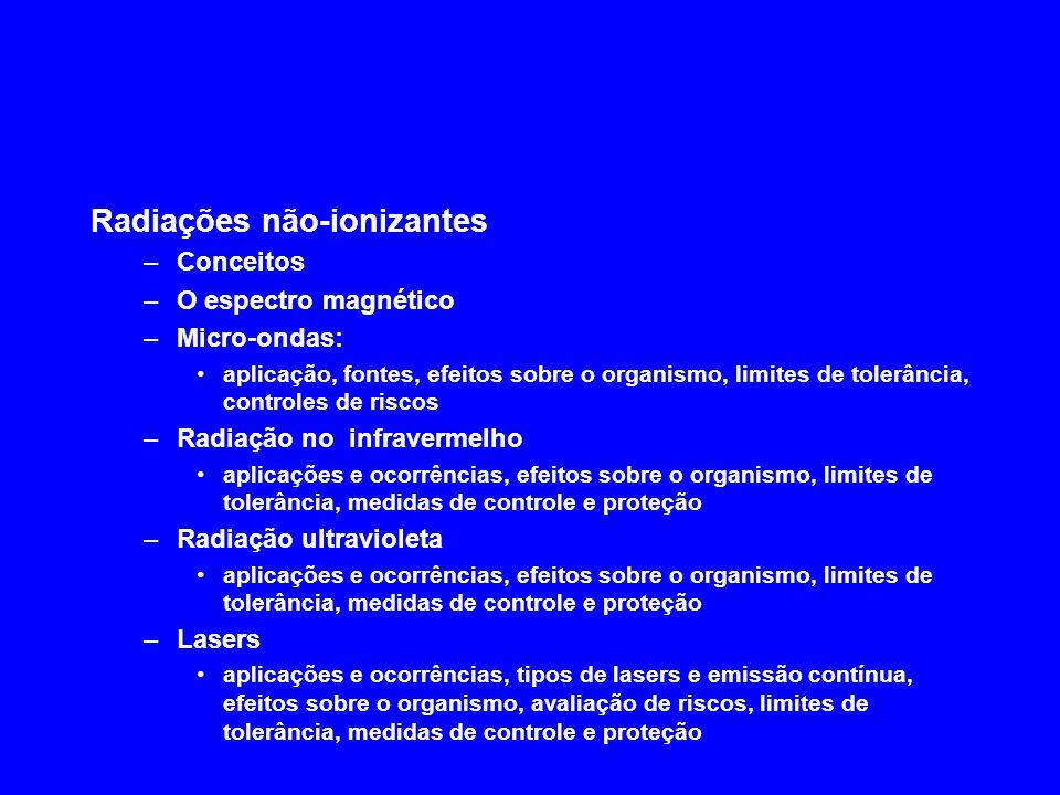 Radiações ionizantes –Radioatividade –Tipos de radiação (, –Lei da desintegração radioativa conceito de meia-vida atividade de uma amostra –Interação da radiação com a matéria –Efeitos Compton e fotoelétrico –Unidades de radiação (Roentgen, RAD, REM...) –Raios-X –Fatores de Ocupação e Uso –Barreiras de proteção