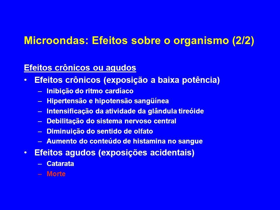 Microondas: Efeitos sobre o organismo (2/2) Efeitos crônicos ou agudos Efeitos crônicos (exposição a baixa potência) –Inibição do ritmo cardíaco –Hipe
