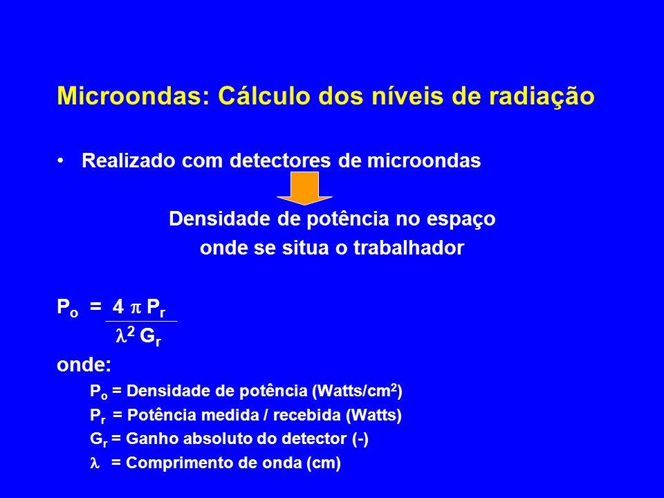Microondas: Cálculo dos níveis de radiação Realizado com detectores de microondas Densidade de potência no espaço onde se situa o trabalhador P o = 4